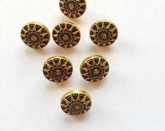 Small metal buttons with stamped design brass 13 mm