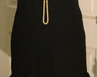 Vintage 1950s Black Feather Wiggle Dress - Size Small