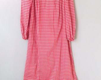 Christmas Dress Women Red Gingham Maxi