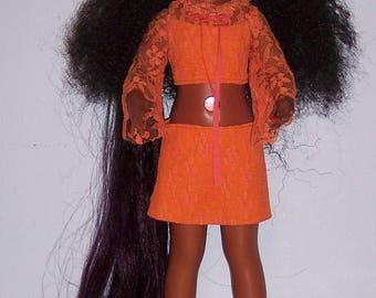 A A Black Ideal Crissy Doll Custom Reroot 18 inch