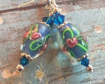 Blue Beadwork Earrings, Lampwork Flower Earrings, Lampwork Floral Earrings, Glass Earrings, Statement Earrings
