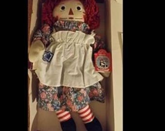 "vintage, 75TH ANNIVERSARY RAGGEDY ANN 18"" doll, in box with certificate of authenticity, collectibles, doll, Raggedy Ann, rag doll,"
