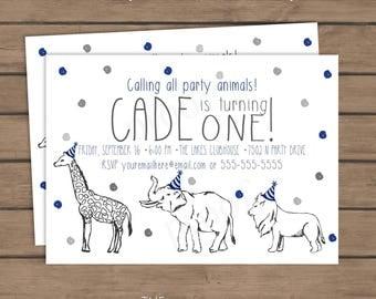 Party Animal Birthday Invite - Simple Birthday - Boy Birthday - First Birthday - Navy Blue Gray - Zoo Animals - Wild Animals - Invitation