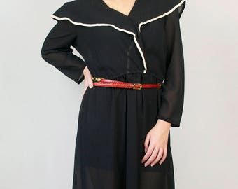 Vintage 70s 80s Black Capelet Midi Dress - White Accent Semi Sheer Button Down V-Neck Cinched Waist Shoulder Pads Cropped Sleeve Formal