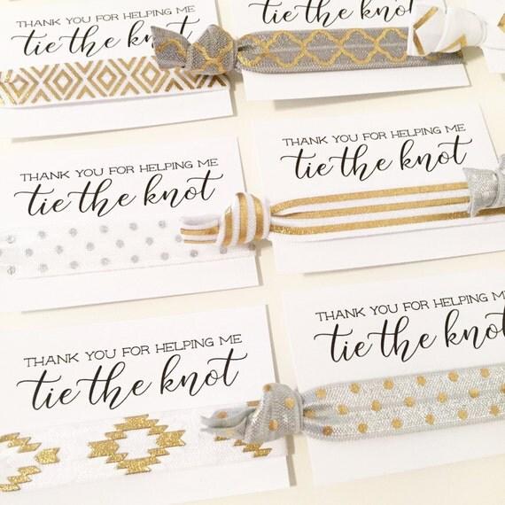 Hair Tie Bridal Shower Favor | White, Gold + Silver Marble Hair Tie Favors, White + Gray Marble Wedding Bridal Shower Favor, Metallic Gold