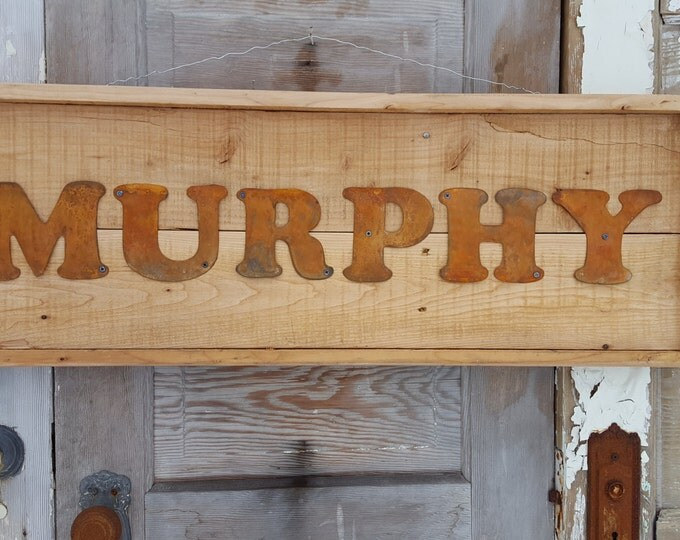 Rustic Wood Sign,  Last Name Letter Sign, Wedding Decor, Farmhouse Style Home Decor, Metal Sign, Family Sign, Rustic Home, Fixer Upper Style