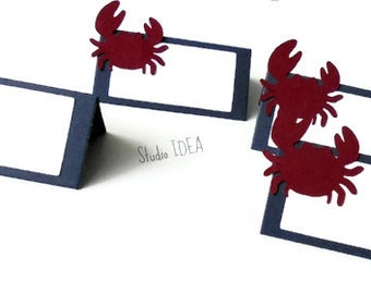 12 Dark Blue - Red Crab Place Cards - Tent Style, Table Decoration-Set of 12 pcs