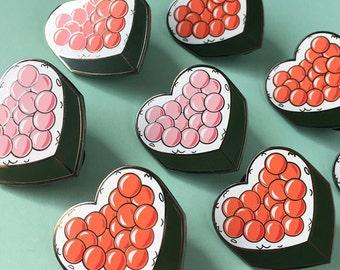 "Ikura Sushi hearts Pins 1.25"" Black nickel, Hard Enamel Pins."
