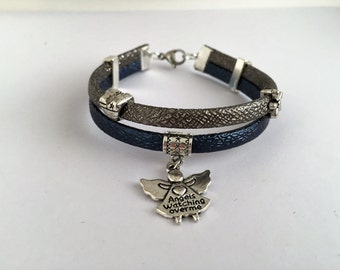 String artificial leather with Ange ref 815 charm bracelet