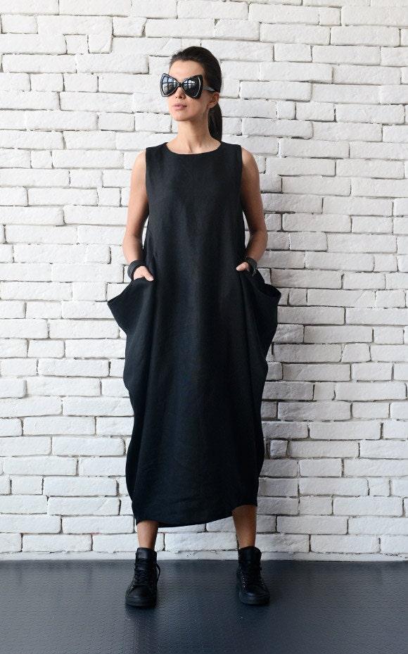 SALE Maxi Linen Dress/Black Linen Kaftan/Plus Size Maxi Dress/Long ...