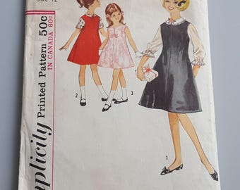 Vintage 1960s Simplicity 5221 Girls Jumper and Blouse Size 12