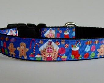 READY TO SHIP! Christmas Dog Collar Gingerbread House Gumdrop Candy