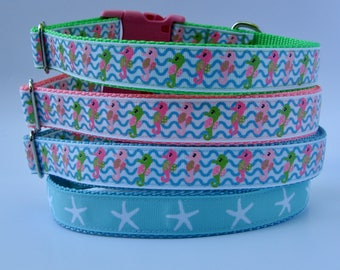 Beach Dog Collar - Seahorse, Starfish
