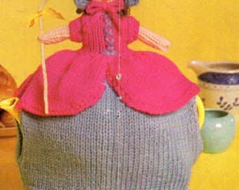 Vintage doll tea cosy cozy knitting pattern PDF doll tea cosy novelty tea cozy DK & 4ply PDF instant download