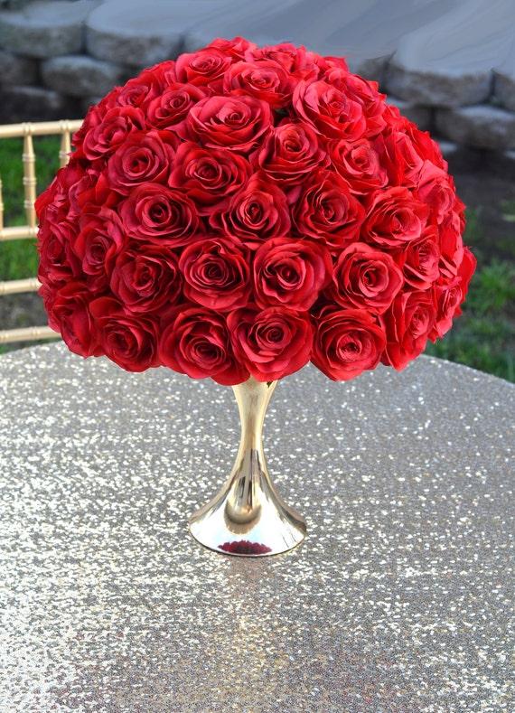 Red rose arrangement half flower ball pomander wedding