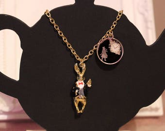 Alice In Wonderland gold necklace with White rabbit enamel pendant