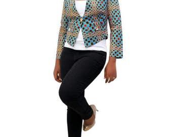 Blue Ankara print blazer - Ankara print jacket - african print jacket - african print top