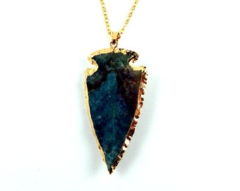 Arrowhead Pendant Necklace | Jasper Necklace | Jasper Pendant | Jasper Arrowhead | Gemstone Pendant | Jasper Jewelry | Arrowhead Jewelry