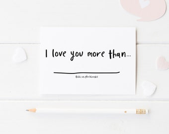 I Love You More Than, Cute Anniversary Card, Card For Anniversary, I Love You More Than, 1st Anniversary Card Her, Wedding Anniversary Card