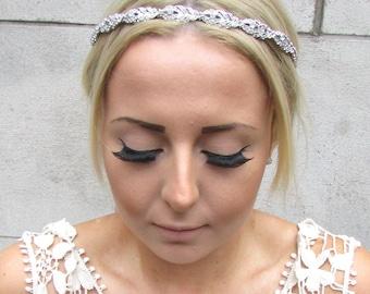 Silver Diamante Metal Feather Headpiece Bridal Wedding Rhinestone Headband 1349