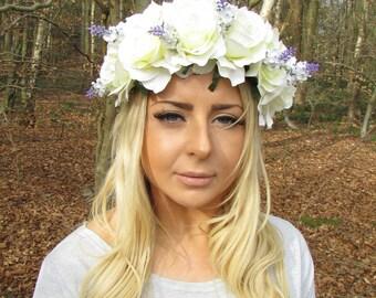 Large Cream White Purple Lavender Rose Flower Garland Headband Bridesmaid 2034