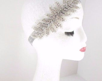 Silver Diamante Headpiece Headband 1920s Flapper Great Gatsby Vintage Hair 2518