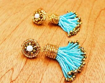Cyan Blue and Gold Tassel Earrings, Sky Blue Tassel Earrings, Cerulean Blue Tassel Earrings, Sky Blue POM POM Earrings w/ Howlite Stones
