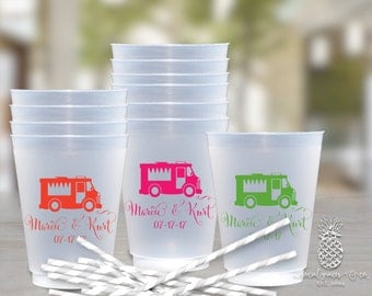 Food Truck Wedding Cups • Custom Wedding Reception • Engagement Parites • Bridal Showers • Rehearsal Dinners • Frosted Shatterproof Cups