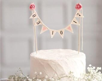Wedding Date Cake Topper Banner Burlap