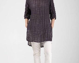 Classic Linen Tunic For Women / Crumpled Linen Tunic With Side Slits / Purple Linen Tunic With Dots / Casual Woman Linen Top With Side Slits