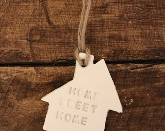 Home Sweet Home Gift Tag, Clay gift Tag, New home gift, New Home Keepsake