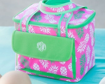 Insulated Tote Monogrammed Cooler Personalized Lunch Bag Beach Weddings Bridesmaids Gifts Pineapple Beach Bag Teacher Gifts Highway12Designs