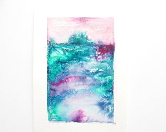 Ocean watercolour ink painting, under the sea painting
