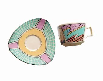 Rosenthal 'Flash One' new & unused teacup and saucer, 1980s Dorothy Hafner design, last set!