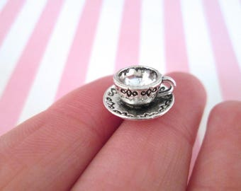 6 Tiny Silver Plated Tea Cup Cabochons, Miniature teacup and saucer for dollhouses and crafts, #DH83
