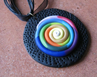 Rainbow Circle Pendant Necklace, Polymer Clay, Rainbow Spiral Circle, Black Ribbon Necklace