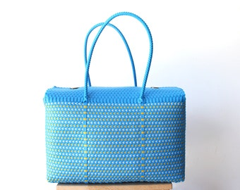 Blue & Yellow Woven Mexican bag, Picnic Basket, Beach Bag, Gifts for her, Mexican Gifts, Oaxaca Tote Bag, Woven Bag, Mexican Basket