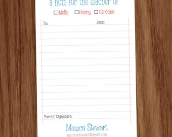 Personalized Mom Mommy Notepad Note Memo Pad, Back to School Parent Excuse Note Memo Pad Notepad, Gift for Moms, For the Teacher of pad