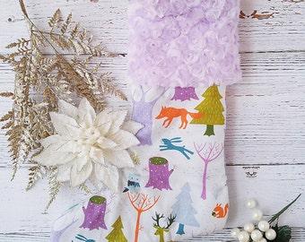 Fawn Christmas Stocking - Girls Holiday Stockings - Woodland Christmas Decorations - Mantel Deocr - Mantle Decor -