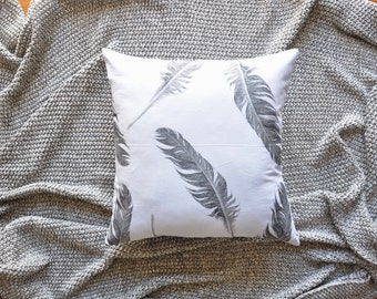 Feathers Cushion Cover, Throw Pillow Cover, Throw Cushion Cover, Decorative Cushion Cover, Decorative Pillow Cover - Grey