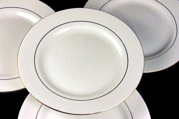 Dinner Plates, Potter & Smith, White and Gold, Set of 4, Fine China