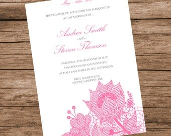 DIY Pink Floral Lace Wedding Invitation Template, Lace Flowers, INSTANT DOWNLOAD, Editable Text & Colors, 5x7