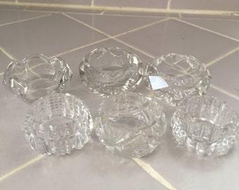 Antique Open Salt Cellar Collection Set of Six Bohemian Cut Crystal Glass