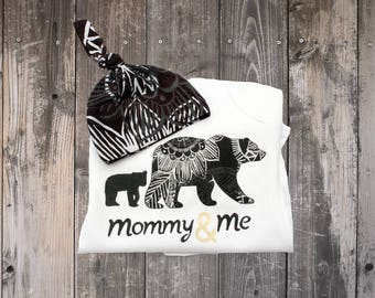 Woodland Bear Bodysuit, Mommy and Me, Organic Bamboo Hat, Baby Shower Gift, Mama Bear and Baby Bear, Mother's Day One Piece