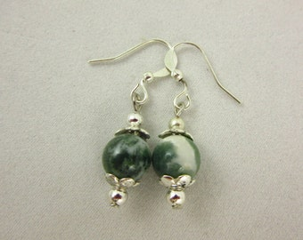 Tree Agate Earrings, Agate Earrings, Dangle Earrings, Silver Earrings, Handmade Earrings, Agate Jewelry, Silver Jewelry