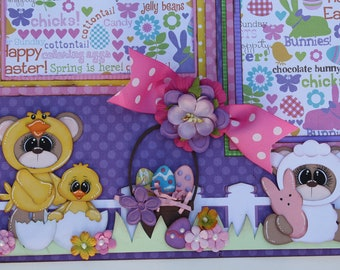 HAPPY EASTER 2 Premade Scrapbook Pages Layout 12x12 Paper Piecing Scrapbooking 4 Album