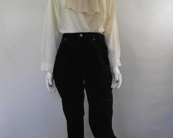 Vintage St Michael navy velvet cropped pants trousers 80s capris size small
