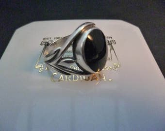 A beautiful vintage black onyx and sterling silver ring - 925 - UK M - US 6.5