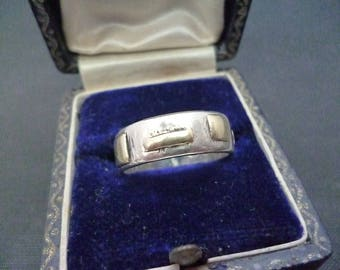 A unique vintage silver ring with gold detail - 925 - sterling silver - Yellow gold - Full UK Hallmark - UK M - US 6.25