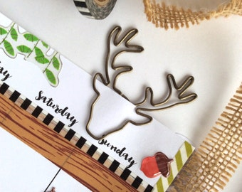 Woodland Forest Stag Paper Clips Planner Accessories Christmas Reindeer Page marker